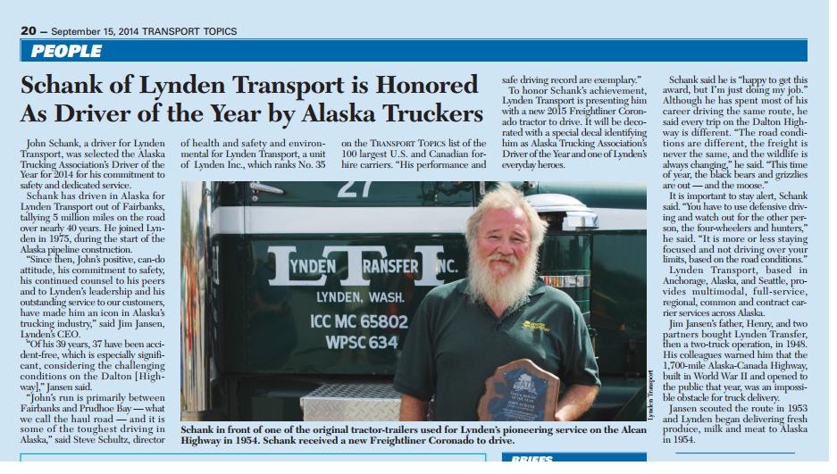 Alaska Trucking Association's Driver of the Year - John Schank