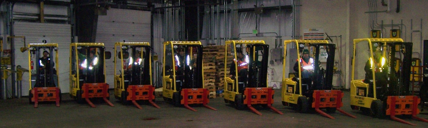 Anchorage forklift crew with electric lifts