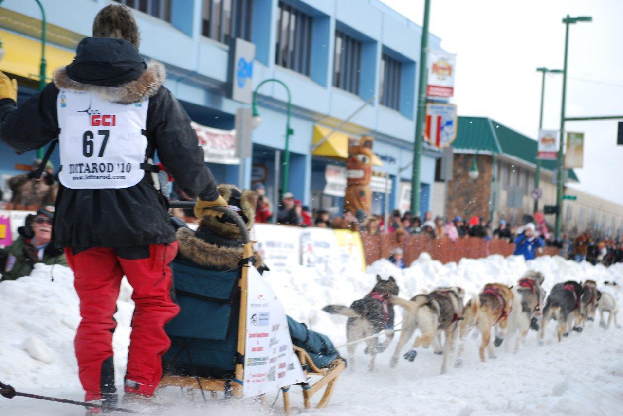 2010 Iditarod - Peter Kaiser heads off on the Ceremonial start