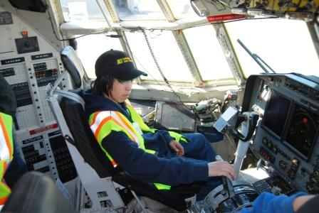 Chevak student in cockpit