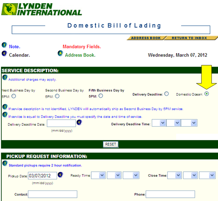 Domestic Bill of Lading
