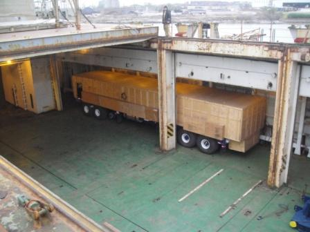 Truck on ship