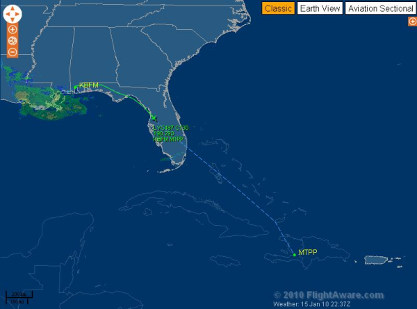 Relief flights to Haiti - online tracking