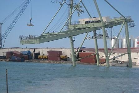 Haiti relief flights - damaged pier