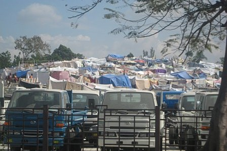 Haiti relief flights - tent city