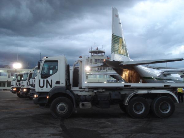 Relief flights - unloading in Haiti