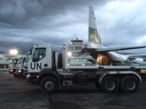 Relief flights - unloading in Haiti