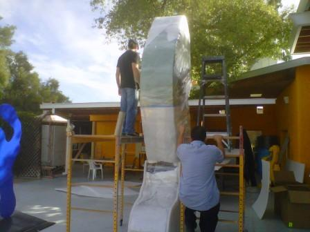 Sculpture being wrapped