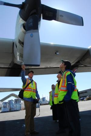 Chevak students check out Hercules plane