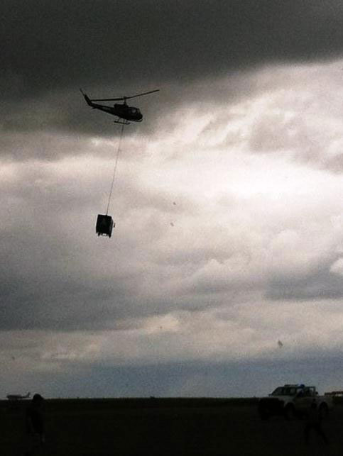 taco truck lowered by helicopter
