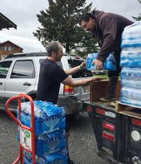 Handing out water in Kake, AK