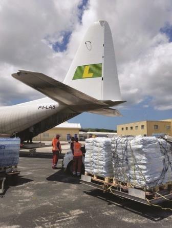 Hurricane response - LAC with sandbags on tarmac.jpg