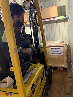 K-beam container interior with forklift