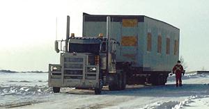 Modular building on truck