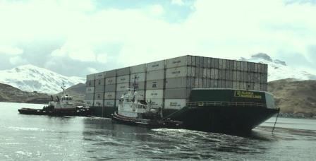 Loaded barge going from Dutch Harbor to Naknek