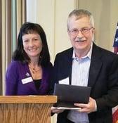 Jon Burdick accepting Transportation Club award