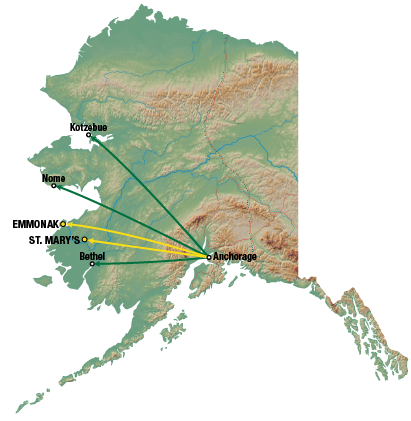 Lynden Air Cargo regular service map
